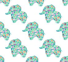 watercolor floral patterned elephant seamless pattern by julkapulka