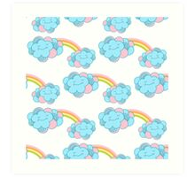 Vector seamless pattern with the clouds and rainbow Art Print