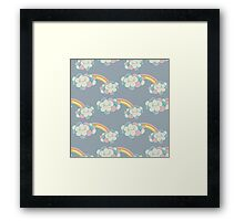 Vector seamless pattern with the clouds and rainbow Framed Print