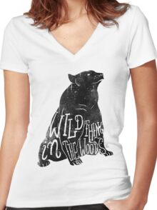 Wild Thing in the Woods Women's Fitted V-Neck T-Shirt