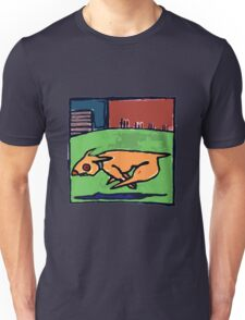 DOG CHASE SHADOW in the city Unisex T-Shirt