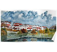 Italian landscape watercolour cityscape painting Poster