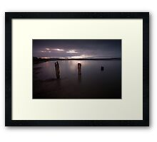 Swansea Bay groynes at night Framed Print