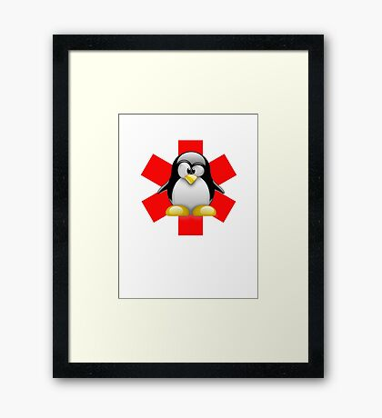 LINUX TUX PENGUIN HOSPITAL Framed Print