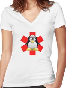 LINUX TUX PENGUIN HOSPITAL Women's Fitted V-Neck T-Shirt