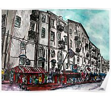 Savannah Georgia USA watercolour  and ink cityscape drawing Poster