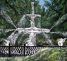 forsyth fountain acrylic painting by derekmccrea