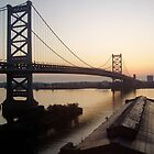 Dawn, Ben Franklin Bridge in Philly by CarolLeesArt