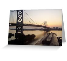 Dawn, Ben Franklin Bridge in Philly Greeting Card