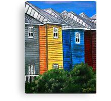 beach houses acrylic painting modern art Canvas Print