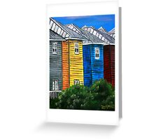 beach houses acrylic painting modern art Greeting Card