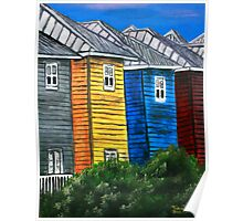 beach houses acrylic painting modern art Poster