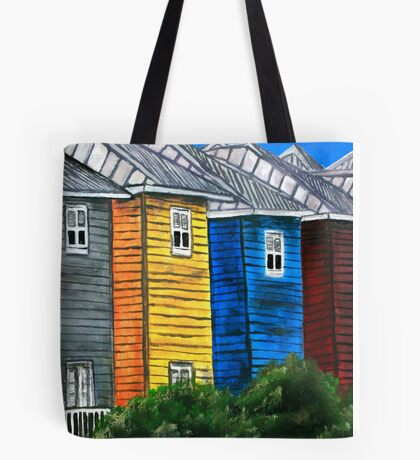 beach houses acrylic painting modern art Tote Bag