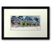 beach houses watercolour painting modern art Framed Print