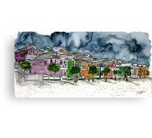 beach houses watercolour painting modern art Canvas Print