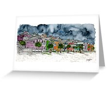 beach houses watercolour painting modern art Greeting Card