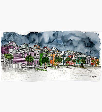 beach houses watercolour painting modern art Poster