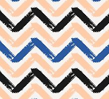 Blue, Pink & Black Chevron by Iveta Angelova