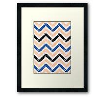 Blue, Pink & Black Chevron Framed Print