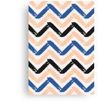 Blue, Pink & Black Chevron Canvas Print