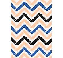 Blue, Pink & Black Chevron Photographic Print