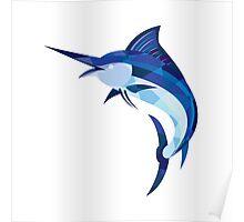 Blue Marlin Fish Jumping Low Polygon Poster