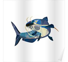 Catfish Mud Cat Looking Up Low Polygon Poster