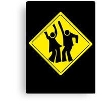 DANCERS CROSSING WARNING ROAD SIGN Canvas Print