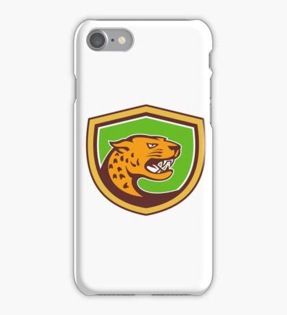 Jaguar Head Side Growling Shield Retro iPhone Case/Skin