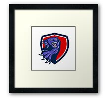 Black Panther Attacking Claws Crest Retro Framed Print