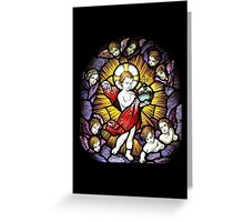 Baby Jesus with Angels Stained Glass Greeting Card