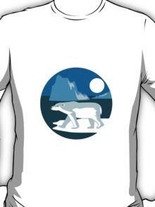 Polar Bear Iceberg Circle Retro T-Shirt