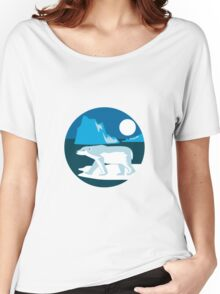 Polar Bear Iceberg Circle Retro Women's Relaxed Fit T-Shirt