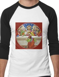 Last Supper Stained Glass Men's Baseball ¾ T-Shirt