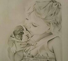Little girl and her bulldog puppy by PersonalArtwork