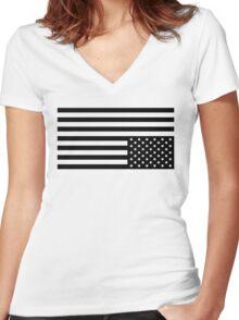 Black On White Women's Fitted V-Neck T-Shirt