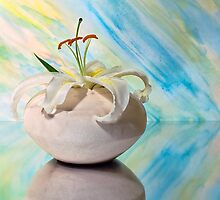 Ceramic Vase With Oriental Lily by cfu123