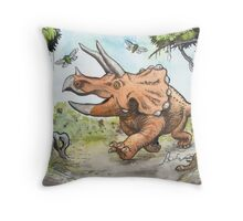 Happy Triceratops Throw Pillow