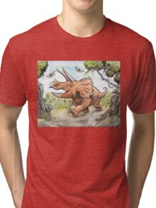 Happy Triceratops Tri-blend T-Shirt