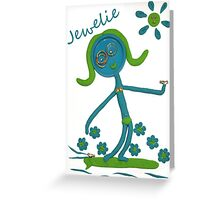Jewelie Goes Surfing Greeting Card