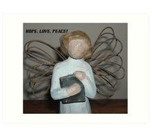 L0VE, H0PE, PEACE Art Print