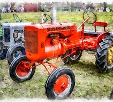 Vintage Allis-Chalmers Tractor Watercolor by Edward Fielding