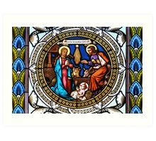 Holy Nativity Stained Glass Art Print