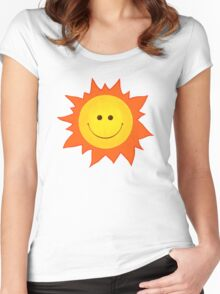 Cute Happy Sun Pattern Women's Fitted Scoop T-Shirt