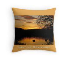 Golden Sunset Over Lake Pennessewassee Throw Pillow