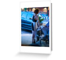 Waitress in Blue Greeting Card