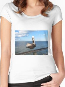 Sitting On The Pier Women's Fitted Scoop T-Shirt