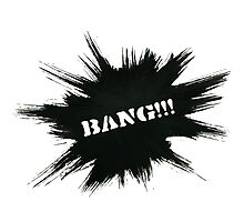 Black Painted Explosion with Bang Word Photographic Print
