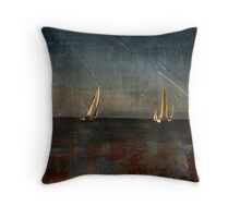 Ship Building in The Bay  Throw Pillow