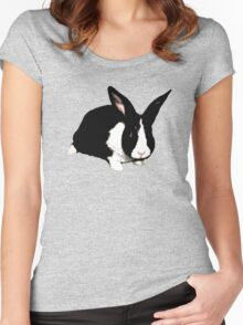 BLACK RABBIT CUTE  Women's Fitted Scoop T-Shirt